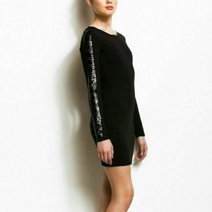 A/X Armani Exchange Black Mini Sequin Dress Long S